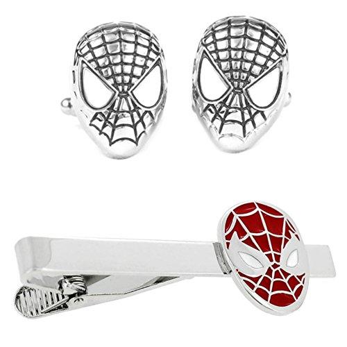 Outlander Spiderman Silver Cufflink & Spiderman Tiebar - New 2018 Marvel Studios Superhero Movies - Set of 2 Wedding Logo w/Gift Box