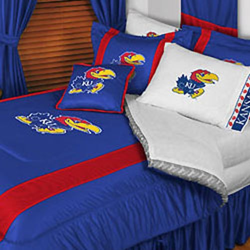 Kansas Jayhawks 4 Pc QUEEN Comforter Set (Comforter, 2 Shams, 1 Bedskirt) - AND Matching Shower Curtain - DECORATE YOUR BEDROOM AND BATHROOM!