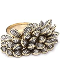 """New Wave"" 18K Gold, Oxidized Silver and Diamond Textured Beaded Ring, Size 7"