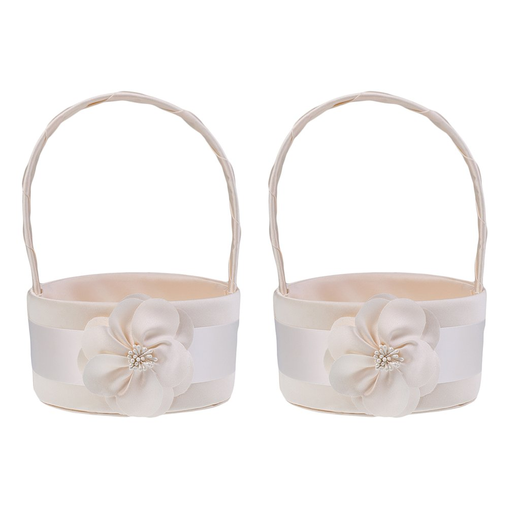 MonkeyJack Pack of 2pcs Delicate Round Champagne Satin Wedding Flower Girl Basket Floral Bridal Petals Basket Decoration