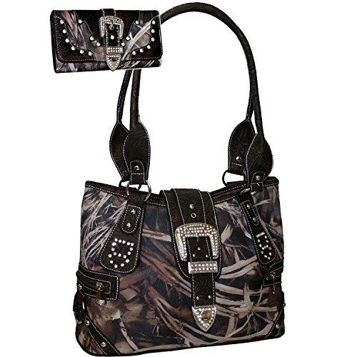 Western Camo Print Rhinestone Buckle Purse Handbag With Matching Wallet - Camo ()