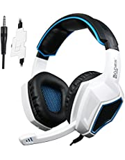 Gaming Headset,SA920 Wire Stereo Gaming Headphones with Mic for PS4 New Version Xbox one PC Computer Gaming with Volume Control (White)