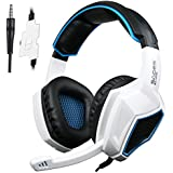 PS4 Headset, Yanni Sades SA920 3.5mm Wired Over Ear Stereo Gaming Headphones with Microphone for PC IOS Computer Gamers Smart Phones Mobiles(White Black)