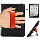 iPad 2 3 4 Retina Display Hard Plastic Rugged Case with Kickstand [360 Degree Rotation] Leather Hand Strap and HD Screen Protector(Black)