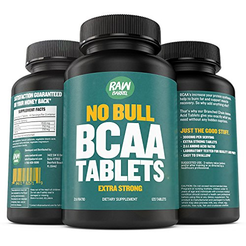 Raw Barrel's - Pure BCAA Tablets - EXTRA STRONG 1000mg Per Tablet - SEE RESULTS OR YOUR MONEY BACK - 120 Pills, 2:1:1 Branched Chain Amino Acid Ratio - *FREE* digital guide