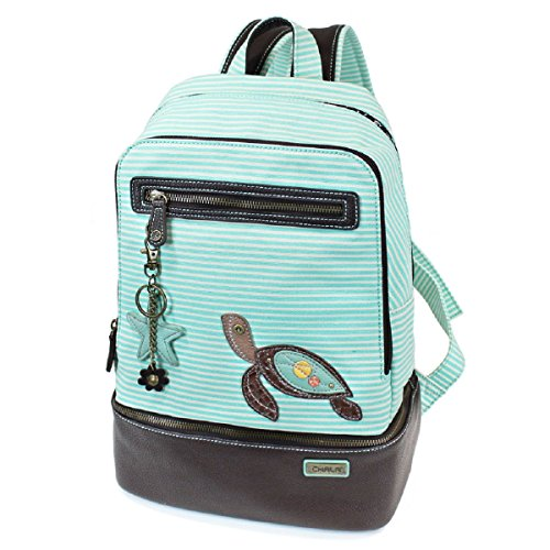 Chala Backpack Style Purse Striped with detachable Key Chain Fob Charm (Teal Stripe)
