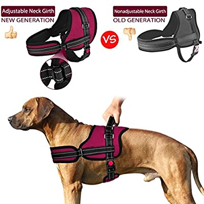 Slowton No Pull Dog Vest Harness, 2018 New Generation Adjustable Neck Strap and Chest Strap Breathable Padded Vest with Top Handle Harness with Locking Buckle for Large Dogs Training Walking