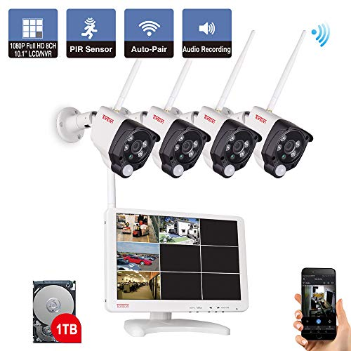 Tonton All-in-One Full HD 1080P Security Camera System Wireless, 8CH WiFi NVR with 10.1