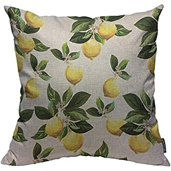 Mugod Lemons Throw Pillow Cover Yellow Lemon with Green Leaves Seamless Citrus Pattern Decorative Square Pillow Case for Home Bedroom Living Room Cushion Cover 18x18 Inch
