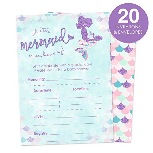 Mermaid Baby Shower Invitations for A Girl Fill In Style 20 Count - A Little Mermaid is On The Way