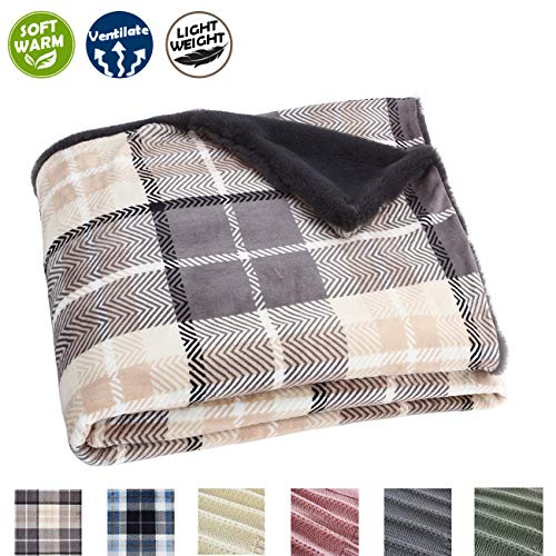 - EverGrace Plaid Fleece Fur Blanket Throw Blanket Fluffy Flannel Blanket Lightweight Soft Blue Throw Blanket for Home Couch Outdoor Travel 50x 60