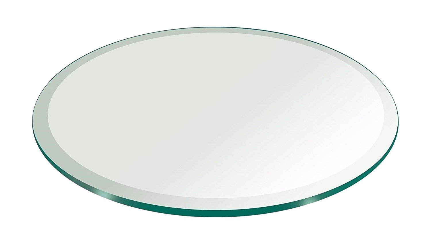 MILAN RD363610BEC 36'' Round Tempered Glass Top, 3/8'' Thick with 1'' Bevel Edge, Clear
