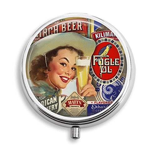 Beer Collage (Cowgirl With Beer Collage Pill Box Pill Holder Pill Case Medicine Holder Decorative Box Mint Tin Vitamin Holder Small Craft Container Handmade Gifts For Her)