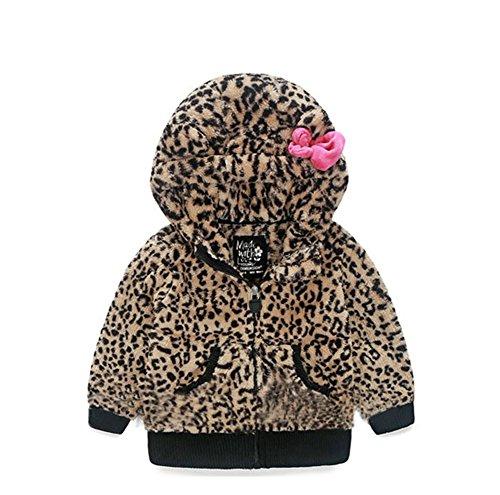 Janeyer Toddler Kids Comfy Velvet Leopard Print Animal Hoody Anoraks Jacket (Brown) (Fleece Leopard Coat)