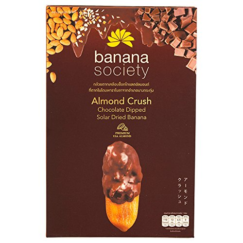 Banana Society, Solar Dried Banana, Almond Crush Chocolate Dipped, net weight 180 g (Pack of 1 piece) / Beststore by KK8