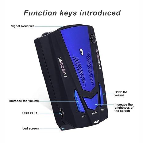 FCGV Durable 16 Banda 360 Car Anti-Police GPS Cámara láser Detector de Radar Dc12V - Azul: Amazon.es: Hogar