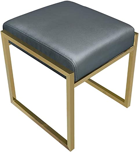 LIYIN-Footstool Footstool Makeup Dressing Stool Ottoman Footrest Upholstered PU Leather Metal Waterproof Change Shoes Bench Max Load 150KG 3 Colors Height 42cm