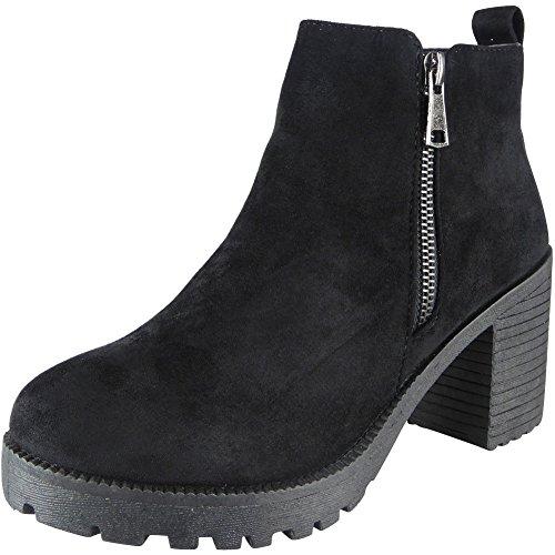 Damen Reißverschluss Mitten Hacke Knöchel Casual Work Chelsea Stiefel Größe 36-41 Schwarz