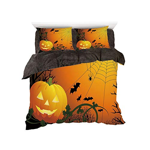 Flannel Duvet Cover Set 4-Piece Suit Warm Bedding Sets Quilt Cover for bed width 5ft Pattern by,Spider Web,Halloween Themed Composition with Pumpkin Leaves Trees Web and Bats Decorative,Orange Dark Gr for $<!--$118.88-->
