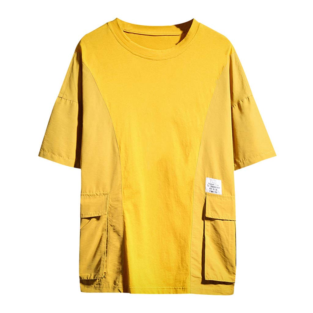 Men T-Shirt Summer Casual Fashion Short Sleeve Patchwork 2019 New Crew Neck Tops Blouse with Pocket (4XL, Yellow)