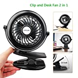 OPOLAR Rechargeable Clip Fan, Powered by USB or 2200mAh Battery, 360 Adjustable Wind Direction, Personal Desk Fan with 3 Speed Settings for Baby Stroller