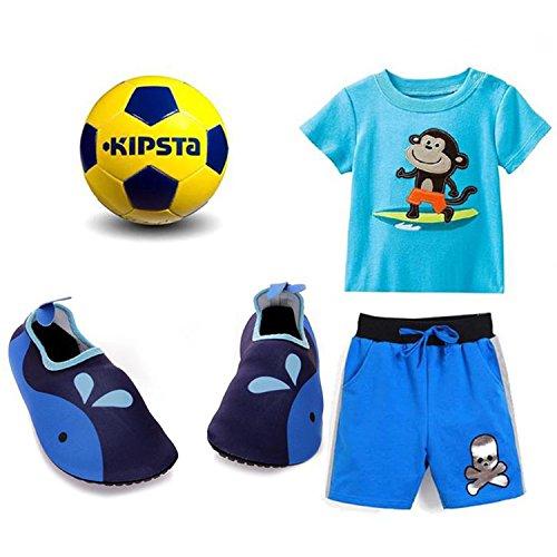 Sibba Unisex Barfuß Wasserhaut Aqua Schuhe Schnell Trocken Beach Swim Surf Yoga Trainingsschuhe für Frauen Männer und Kinder Blau-Kind