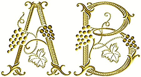 "ABC Designs Grape Vines Font Machine Embroidery Designs for 4/""x4/"" Hoop"