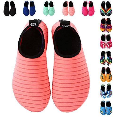 EQUICK Frauen Wasser Schuhe Quick-Dry Verschnaufpause Sport Haut Schuhe Barfuß Anti-Rutsch-Multifunktionssocken Yoga Übung Rosa