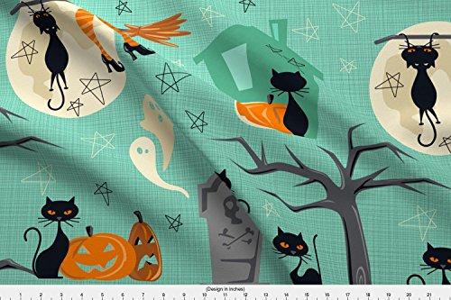 Spoonflower Retro Fabric - Retro Vintage Cats Halloween Fifties Trick Or Treat Witch - by Juliesfabrics Printed on Basic Cotton Ultra Fabric by The Yard -