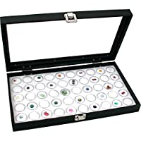 Caja de vitrina de joyería FindingKing Top de cristal blanco 50 frascos de gemas