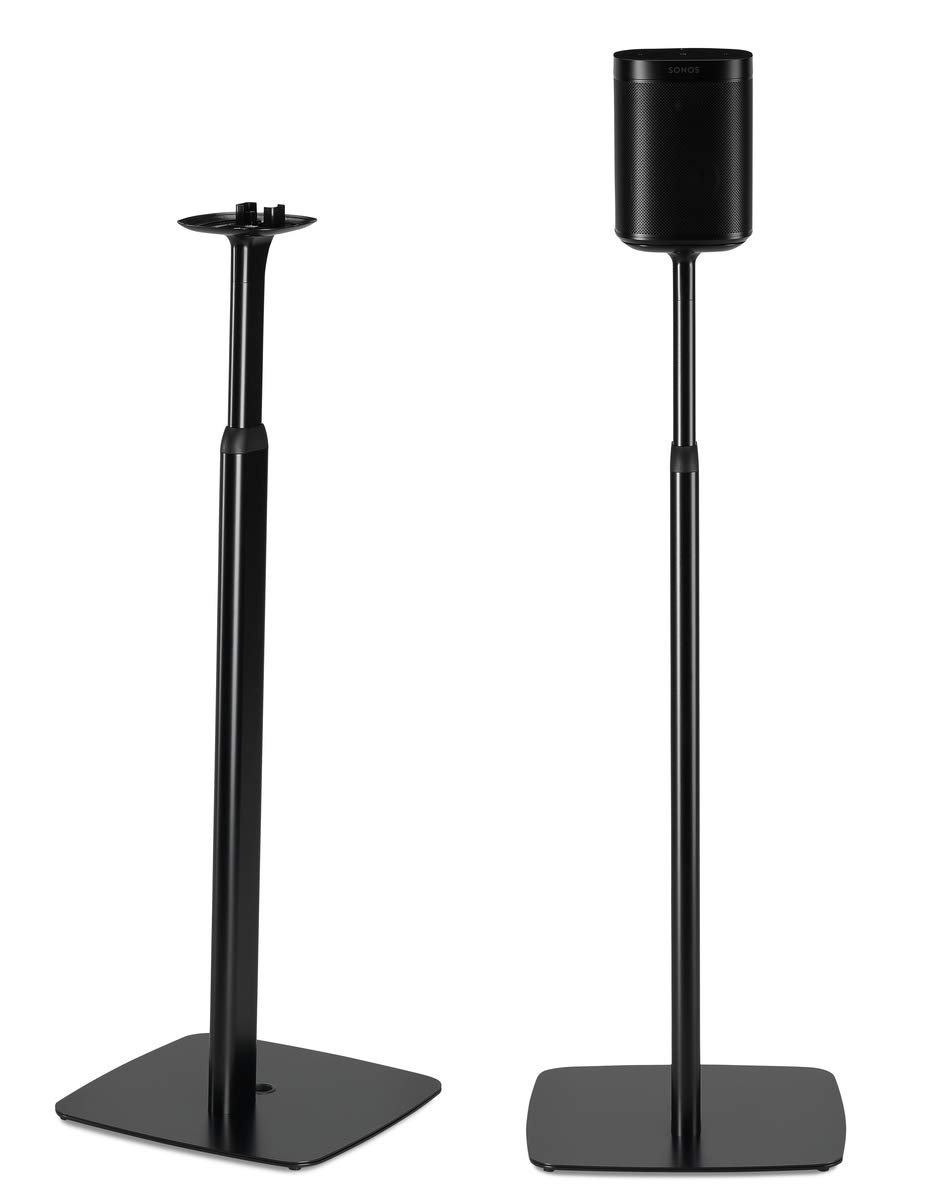 Flexson Adjustable Floor Stands for SONOS One and SONOS Play:1 (Pair, Black) by Flexson