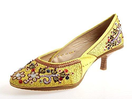 Buffalo colorida Zapatos De Salón Lentejuelas zapatos para mujer Satén 4907-1 Amarillo