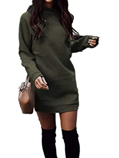 c52eeb2a4c0 Xuan2Xuan3 Women s Fleece Long Sweatshirt Dress Crewneck Pullover Casual  Long Sleeve Bodycon Mini Sweater Dress
