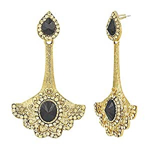 Shining Jewel Traditional Ethnic And Fancy Earring With Black & Champagne Crystals (SJ_446)