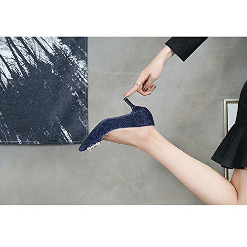 Stile Opaco Blu Berteri Sexy Spillo A Donne Pompe Alti Tacchi Scarpe Primavera 8PvxFqRqw