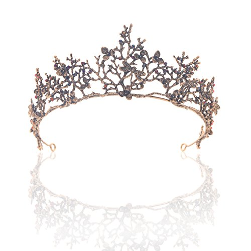 Edary Bridal Wedding Queen Crowns and Tiaras Baroque Black Flower Hair Accessories for Women by Edary (Image #7)