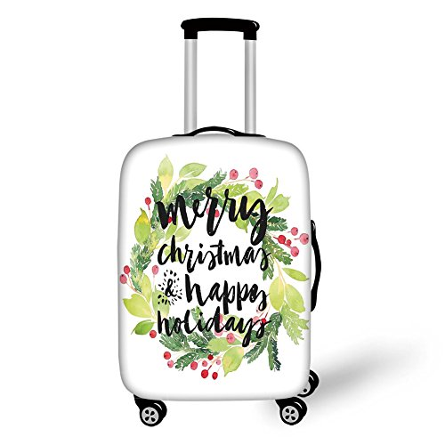 Travel Luggage Cover Suitcase Protector,Christmas Decorations,New Year and Happy Holiday Rustic Wreath Berries and Evergreen Image,White Green,for Travel (Christmas Kohls Wreath)