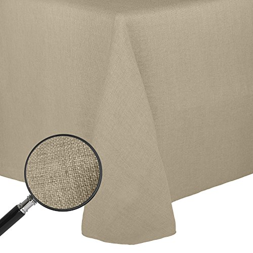 Ultimate Textile Faux Burlap - Havana 60 x 84-Inch Oval Tablecloth - Basket Weave, Natural
