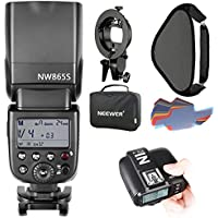 Neewer GN60 2.4G Manual HSS Master Slave Flash Speedlite for Sony New Mi Hot Shoe Camera,Kit Includes:NW865S Flash,N1T-S Trigger,S-type Bracket,16x16 inches Softbox,20 Pieces Color Filter