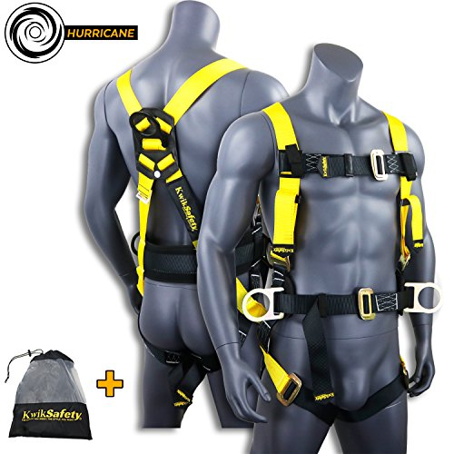 Lanyard Harness Safety (KwikSafety HURRICANE | OSHA ANSI Fall Protection Full Body Safety Harness w/Back Support | Personal Protective Equipment | Dorsal Ring Side D-Rings | Universal Construction Industrial Roofing Tool)
