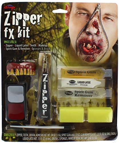 Zombie Zipper Kit With Zip, Liquid Latex, Spirit Gum & Remover Halloween Make-Up ()