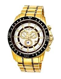 Porsamo Bleu Grand Prix Noir Stainless Steel Gold Tone, Gunmetal, Black & Brown Men's Diamond Watch 093BGPS