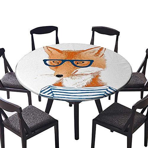 Round Premium Tablecloth Woman Fox with Glasses and Striped Shirt Humor Character Animal Print Blue Orange Stain Resistant 59