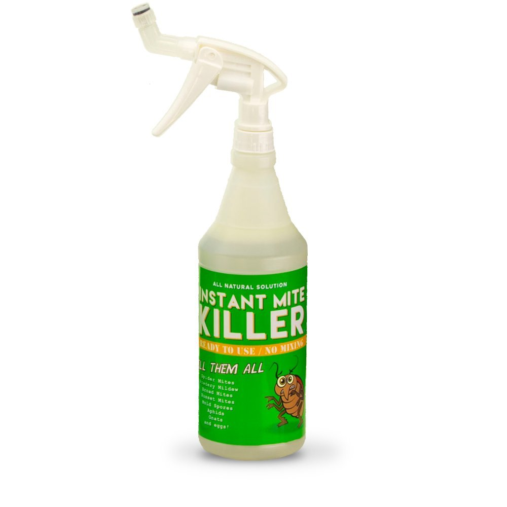 Instant Mite Killer - Destroy Spider Mites, Broad Mites, Powdery Mildew, and More, 32 Ounce (RTU) Ready-to-Use Spray with Patented 360° Spray Nozzle by Instant Mite Killer