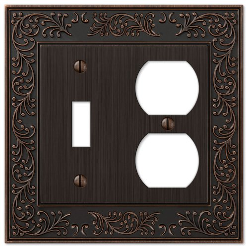 Bronze Switch Plate Single Wall (AmerTac 43TDVB 1 Toggle/1 Duplex English Garden Wallplate, Aged Bronze)
