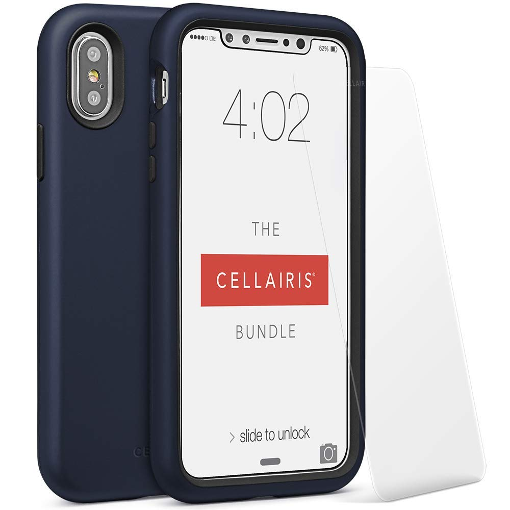 Cellairis - The Cellairis Bundle, Cell Phone Case for Apple iPhone X, for iPhone Xs (Navy Blue) - Triple Layer Protection - with a Scratch Resistant Tempered Glass Screen Protector