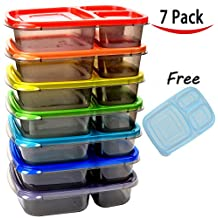 7 Pack Color Meal Prep 3 Compartment Portion Control Plastic Bento Lunch Box Food Container and 1 FREE ice pack - Youngever Home - Microwavable - Dishwasher Safe - BPA Free