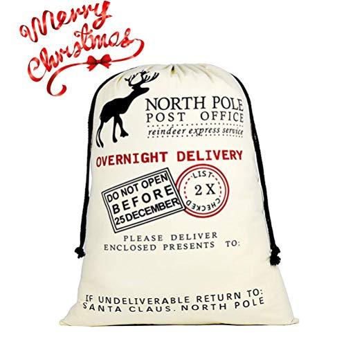 DIY Personalized Santa Sack Large Christmas Presents Sacks Bags with Drawstring 19x27+1 Red Satin Ribbon for Xmas Gift Decorations 3/4x3 Yards
