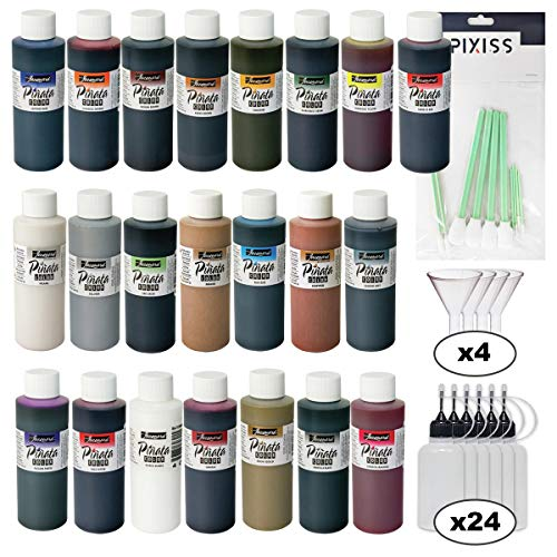 Jacquard Pinata Ultimate Ink Bundle, All 22 Colors in 4-Ounce Size, 24x Pixiss 20ml Needle Tip Applicator and Refill Bottles, 4X 1.5 inch Funnels and 10x Pixiss Alcohol Ink Blending Tools ()