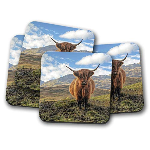 4 Set - Muddy Highland Cow Coaster - Cattle Bull Scotland Fun Animal Gift #15818